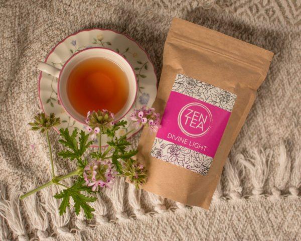 Rose flavoured zen tea with tea cup