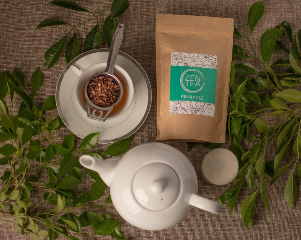 creative arrangement of Chocolate tea with tea cup