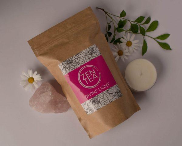 Creative arrangement of flowers and crystals with zen tea