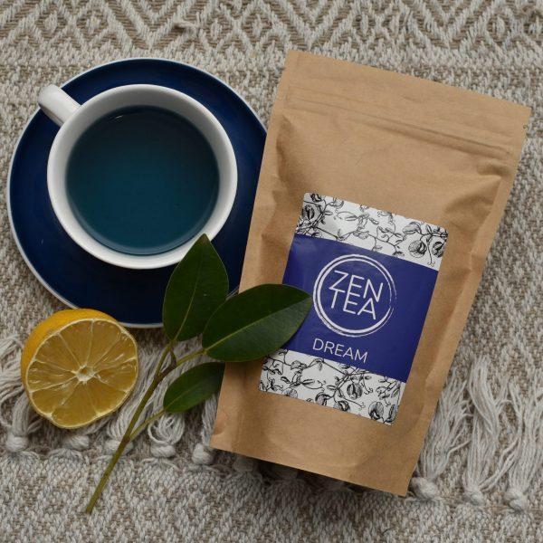 Blue butterfly pea flower tea arranged with tea cup