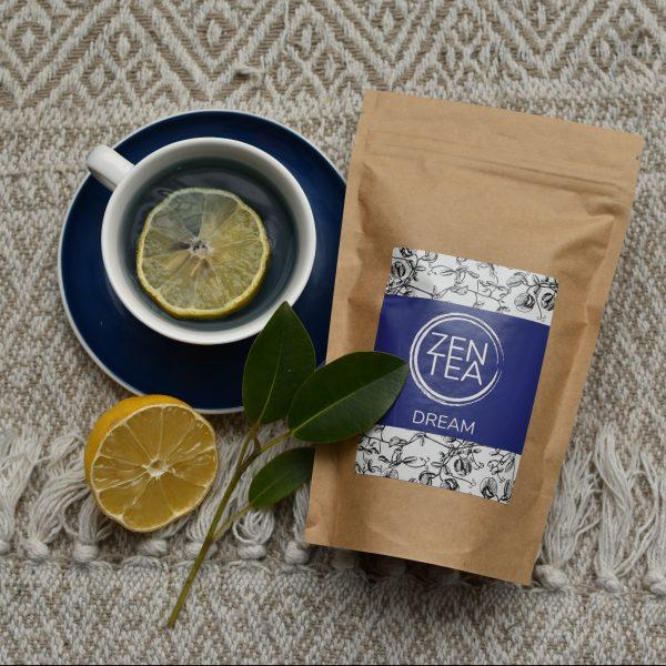 Zen Tea with lemon slice in tea cup