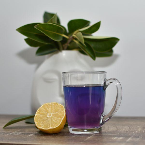 Blue colour changing Zen Tea arranged with tea cup